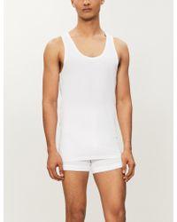 Hanro Men's White Core Precision Cotton-blend Vest