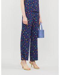 STAUD Salad Print Wide-leg Crepe Pants - Blue