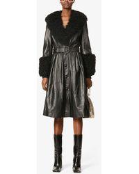 Saks Potts Foxy V-neck Shearling-trimmed Leather Coat - Black
