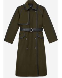The Kooples Leather-trim Cotton Trench Coat - Green