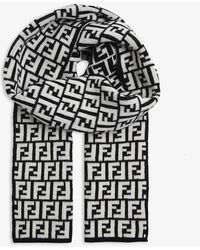 Fendi Wool Ff Logo Scarf - Black