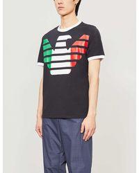 Armani Italian Flag Logo-print Stretch-cotton T-shirt - Blue