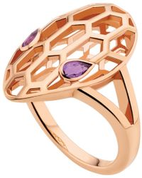 BVLGARI - Serpenti Seduttori 18kt Pink-gold And Amethyst Ring - Lyst