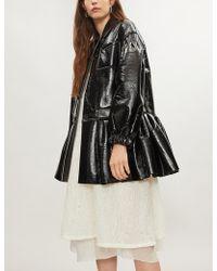 Huishan Zhang - Pleated-hem Faux-leather Coat - Lyst