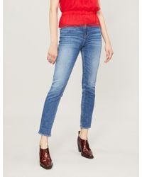 PAIGE Ladies Blue Cotton Sarah Faded Skinny Mid-rise Jeans