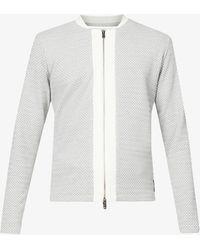 PREVU Webster Geometric-pattern Stretch-knit Jacket - Grey