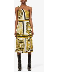 Versace One-shoulder Baroque-print Stretch-woven Midi Dress - Yellow