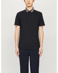 Ted Baker Teacups Striped-trim Stretch-jersey Polo Shirt - Blue