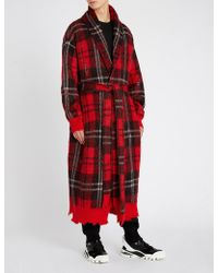 Alexander McQueen - Distressed Brushed Waffle-knit Mohair-blend Robe - Lyst