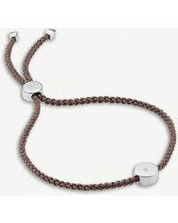 Monica Vinader Linear Solo Sterling Silver And Diamond Friendship Bracelet - Grey