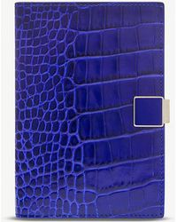 Smythson Mara Leather Passport And Documents Cover - Blue