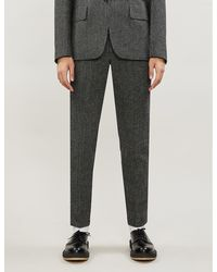 Sandro Woven-texture Slim-fit Tapered Wool Pants - Gray