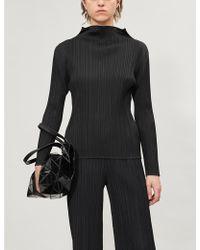 Pleats Please Issey Miyake Basic High-neck Long-sleeved Pleated Satin Top - Black