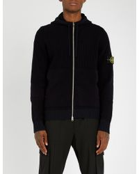 Stone Island - Logo-patched Wool-blend Hoody - Lyst
