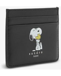 Sandro X Snoopy Logo-print Leather Card Holder - Black