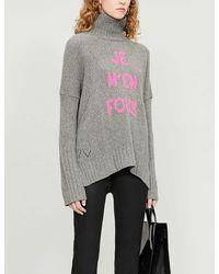 Zadig & Voltaire Alma Turtleneck Oversized Wool Jumper - Grey