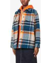 A Bathing Ape Checked Wool-blend Shirt Jacket - Natural