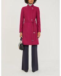 Ted Baker Metallic-trim Wool-blend Coat - Pink