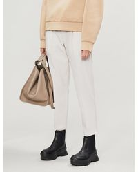 Brunello Cucinelli Paper Bag Waist High-rise Tapered Gabardine Trousers - Multicolour