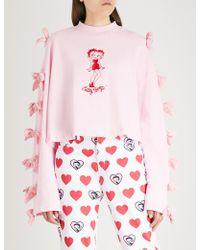 Lazy Oaf - X Betty Boop Bow-embellished Cotton-jersey Sweatshirt - Lyst