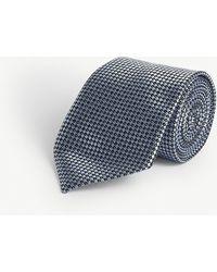 Emporio Armani Dotted Square Silk Satin Tie - Blue