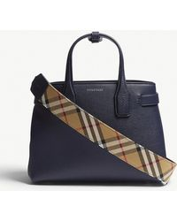 Burberry - Regency Blue Check Vintage Banner Grained Leather Tote Bag - Lyst