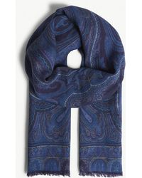 Etro - Paisley Print Wool-silk Blend Scarf - Lyst
