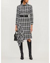 Claudie Pierlot Asymmetric-hem Checked Crepe Dress - Black