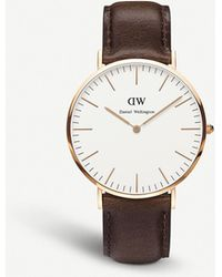 Daniel Wellington 0109dw Bristol Rose Gold-plated And Leather Watch - White