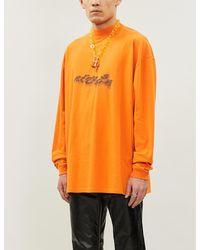 Off-White c/o Virgil Abloh Graphic-print Cotton-jersey Sweatshirt - Orange