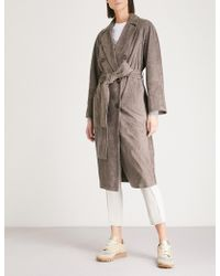 Brunello Cucinelli - Double-breasted Suede Trench Coat - Lyst