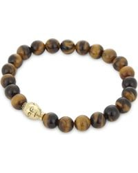 Nialaya - Tiger Eye And Buddha Beaded Bracelet - Lyst