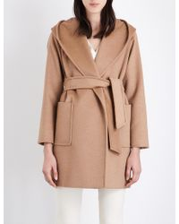 Max Mara - Ladies Camel Patch Pocket Luxury Rialto Hooded Hair Coat - Lyst