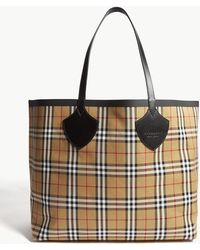 Burberry - Ladies Antique Yellow Check House Canvas Shopper Bag - Lyst
