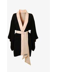 Agent Provocateur Womens Black Kiki Logo-embroidered Silk Kimono S/m