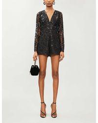 Alexis Riso Sequin-embellished Mesh Playsuit - Black