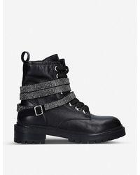 Carvela Kurt Geiger Tuxedo Leather Biker Boots - Black
