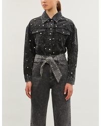 Sandro Stud-embellished Acid-wash Denim Shirt - Black