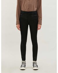 J Brand Alana Coated Skinny Cropped High-rise Jeans - Black