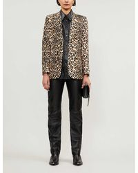 The Kooples Leopard-print Crepe Single-breasted Blazer - Multicolor