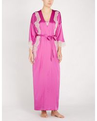 Nk Imode - Skyler So Glam Stretch-lace And Silk-satin Robe - Lyst