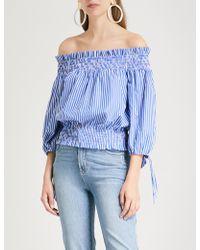 Caroline Constas Lou Striped Cotton Top - Blue