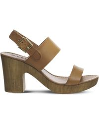 Office - Michelle Wood Leather Sandals - Lyst