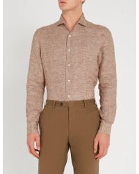 Corneliani - Houndstooth-patterned Regular-fit Linen Shirt - Lyst