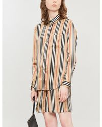 Burberry - Striped Wide High-rise Silk Shorts - Lyst