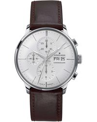 Junghans 027/4120.01 Meister Chronoscope Stainless Steel And Leather Watch - Metallic