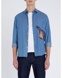 Paul Smith - Embroidered-patch Relaxed-fit Cotton-blend Shirt - Lyst