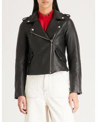 Claudie Pierlot Coconut Leather Biker Jacket - Black