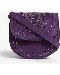 Altuzarra - Royal Purple Mini Ghianda Studded Leather Saddle Bag - Lyst