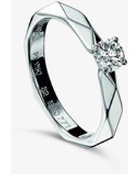 Boucheron Facette Platinum And Diamond Ring - Metallic